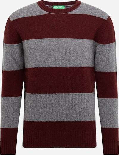 UNITED COLORS OF BENETTON Pullover in graumeliert / burgunder, Produktansicht