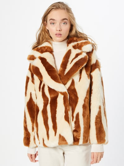 JAKKE Between-Seasons Coat 'RITA' in Cream / Brown, View model
