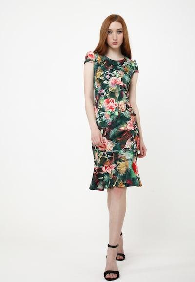 Madam-T Sommerkleid 'DEVENTA' in grün / koralle, Modelansicht