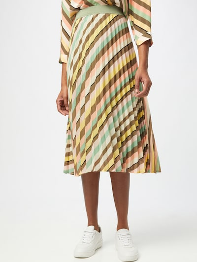 MORE & MORE Skirt in brown / yellow / pastel green / pink / white: Frontal view