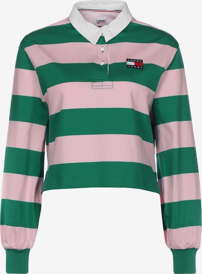 Tommy Jeans Poloshirt in grasgrün / rosa, Produktansicht