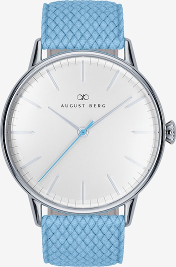 August Berg Uhr 'Serenity Sky Blue Silver Sky Blue Perlon 40mm' in hellblau, Produktansicht