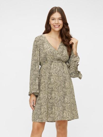 MAMALICIOUS Šaty 'MLMAYRA' - béžová / olivová / tmavě zelená, Model/ka