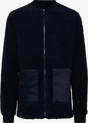 !Solid Fake Fur Jacke in Blau
