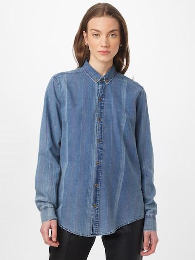 Trendyol Bluse i blue denim / lilla / hvid, Modelvisning