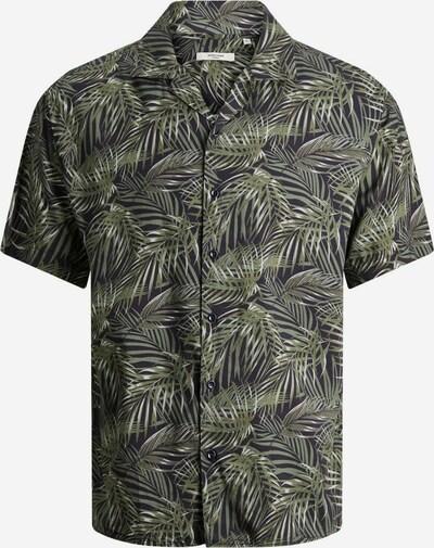 JACK & JONES Tropenprint Kurzarmhemd in anthrazit / oliv, Produktansicht