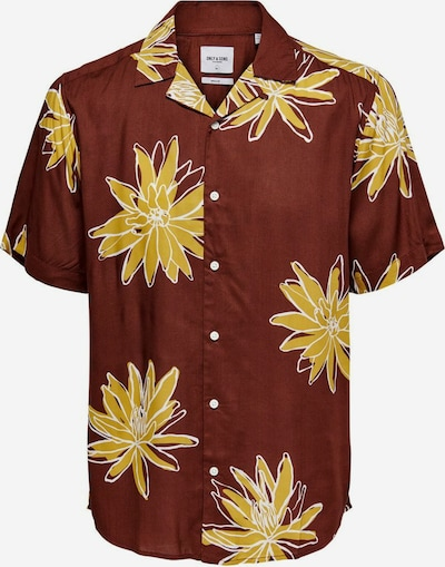 Only & Sons Button Up Shirt in Gold / Rusty red / White, Item view