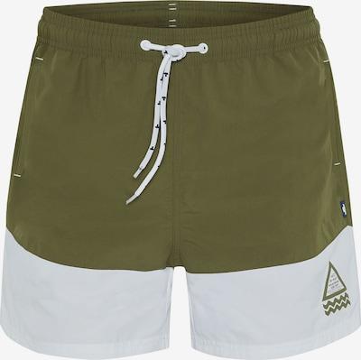 TOM TAILOR Shorts de bain 'LIAM' en olive / blanc, Vue avec produit