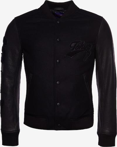 Superdry Lederjacke in schwarz, Produktansicht