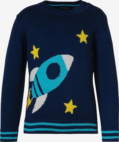 BLUE SEVEN Pullover in türkis / nachtblau / aqua / gelb / weiß, Produktansicht