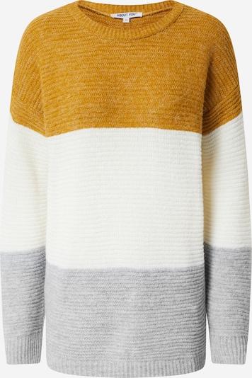 ABOUT YOU Trui 'Larissa' in de kleur Mosterd / Grijs / Wit, Productweergave