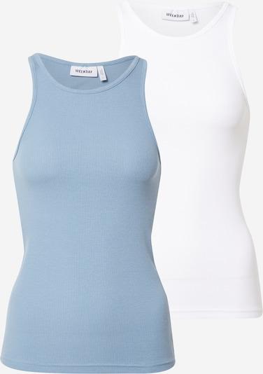 WEEKDAY Топ 'Stella' в опушено синьо / бяло, Преглед на продукта
