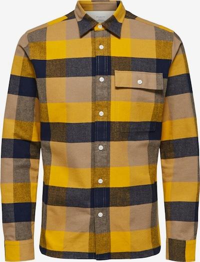 SELECTED HOMME Hemd in blau / braun / gelb, Produktansicht