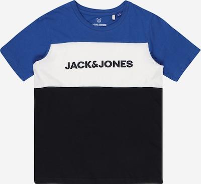 Jack & Jones Junior Majica | nočno modra / kraljevo modra / bela barva: Frontalni pogled