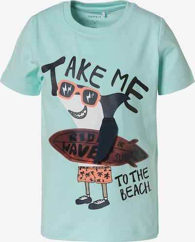 NAME IT Shirt 'Fano' in opal / ocker / orange / schwarz / weiß, Produktansicht