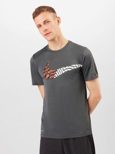 NIKE Funkční tričko - šedá / lososová / černá / bílá: Pohled zepředu