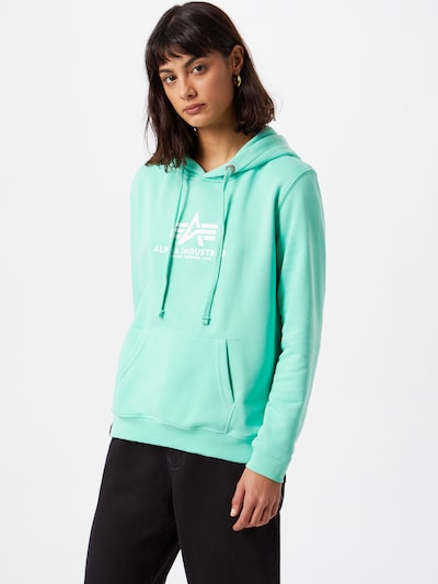 ALPHA INDUSTRIES Sweatshirt in mint / weiß: Frontalansicht