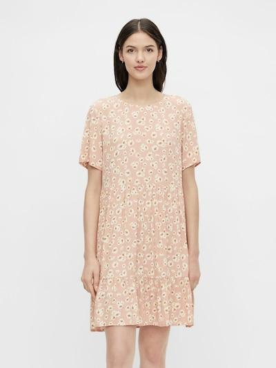 PIECES Kleid in rostbraun / hellgelb / altrosa / weiß, Modelansicht