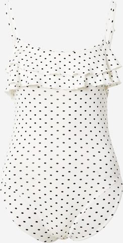 Miss Selfridge Petite Shirt Bodysuit in White