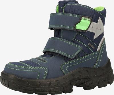 RICHTER Škornji za v sneg 'Davos' | mornarska / neonsko zelena / srebrna barva, Prikaz izdelka
