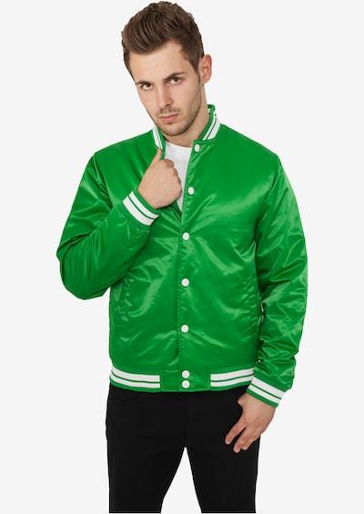 Urban Classics Tussenjas 'Mens Shiny College Jacket' in de kleur Groen: Vooraanzicht