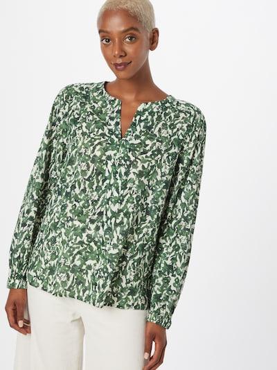 Marc O'Polo Bluse in beige / grün / dunkelgrün, Modelansicht