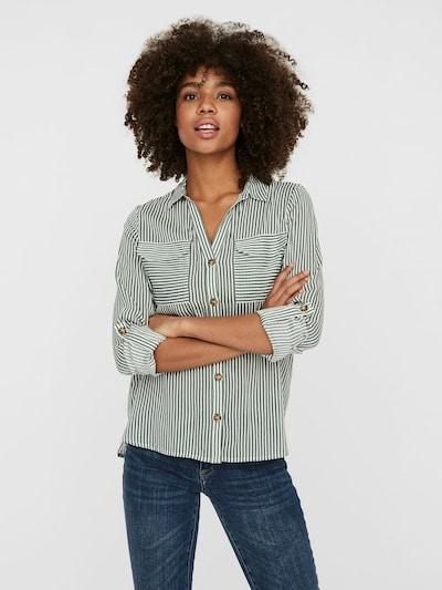 VERO MODA Bluse 'Bumpy' in grasgrün / weiß, Modelansicht