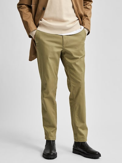 SELECTED HOMME Pantalon chino en kaki, Vue avec modèle