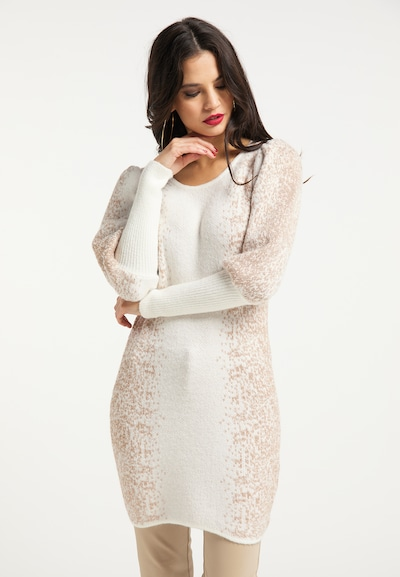 faina Knitted dress in Beige / White, View model