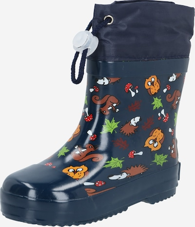 PLAYSHOES Rubber boot in Dark blue / Caramel / Light green / Mixed colours / White, Item view