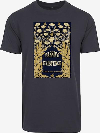 Merchcode T-shirt 'Existence' en bleu marine / moutarde / jaune pastel: Vue de face