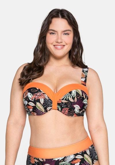 SHEEGO Top de bikini en verde / lila / naranja / negro / blanco, Vista del modelo