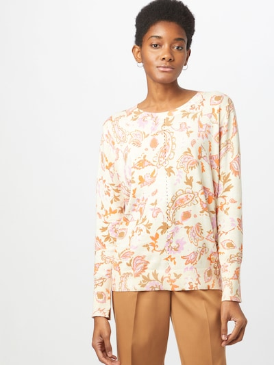 MOS MOSH Sweater 'Vinette' in Pastel purple / Coral / Nature white: Frontal view