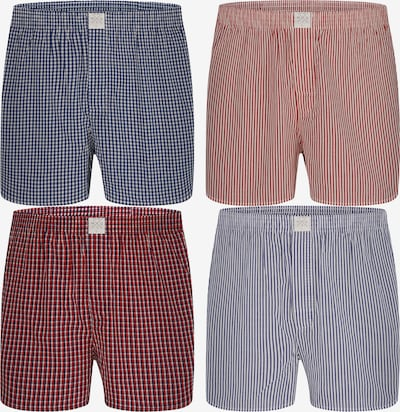 MG-1 Web-Boxershorts 4-Pack  ' Checks ' in mischfarben / rot, Produktansicht