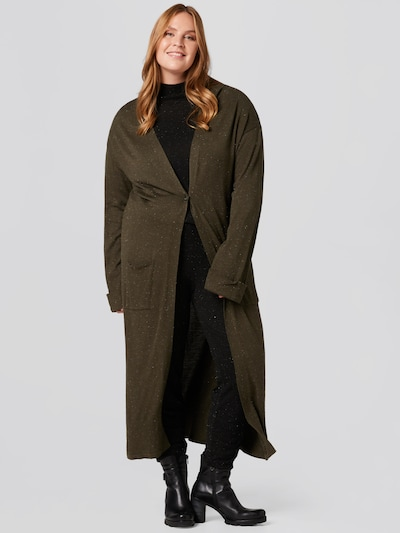 Guido Maria Kretschmer Curvy Collection Knitted Coat 'Laura' in Khaki, View model