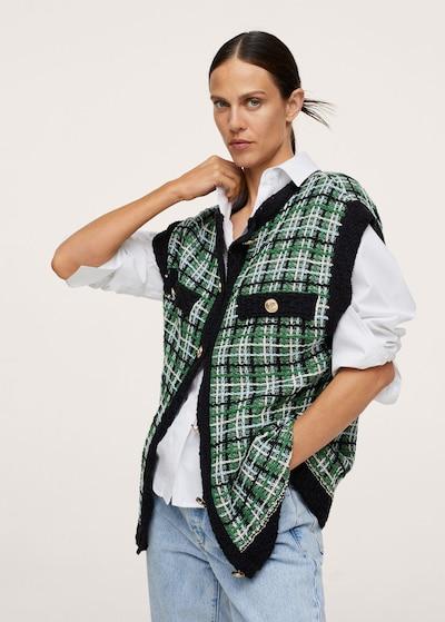 MANGO Weste 'Casiragi' in azur / grün / schwarz / weiß, Modelansicht