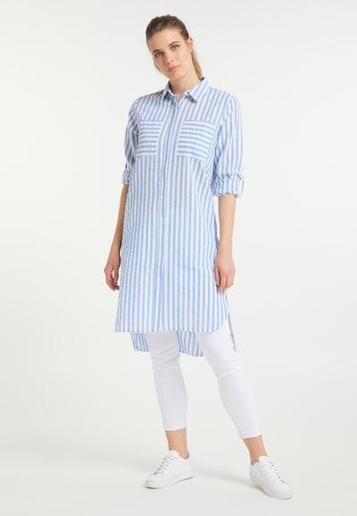 DreiMaster Maritim Blusenkleid in blau / weiß: Frontalansicht