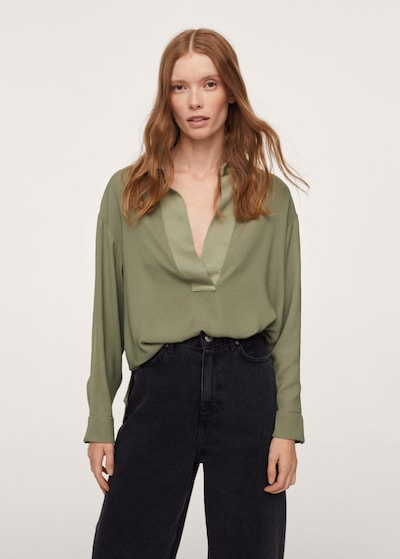 MANGO Bluse 'Daniela' in grün, Modelansicht