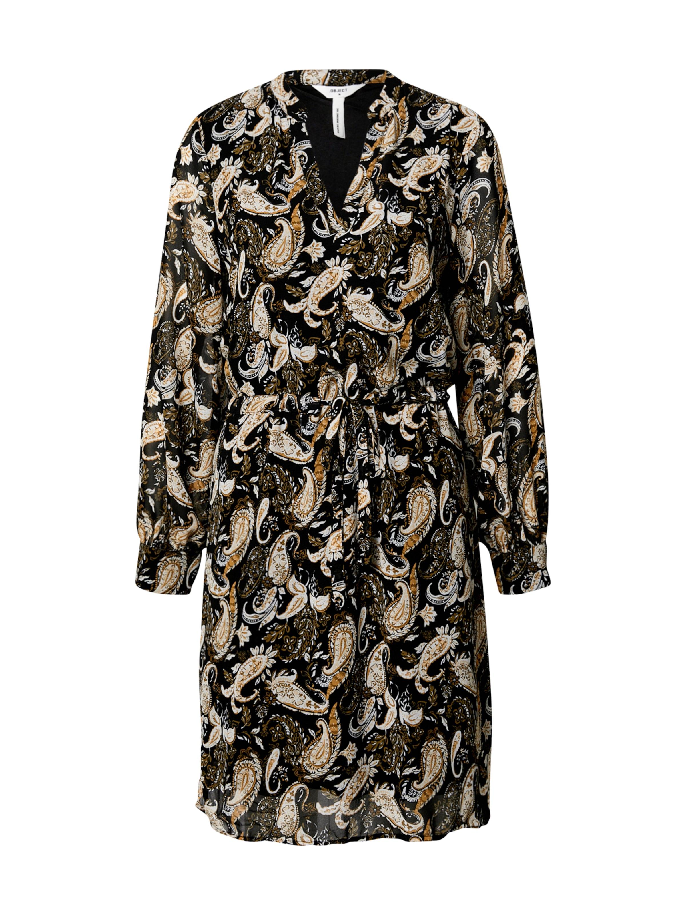 OBJECT Skjortklänning 'Anessa' i beige / brun / svart