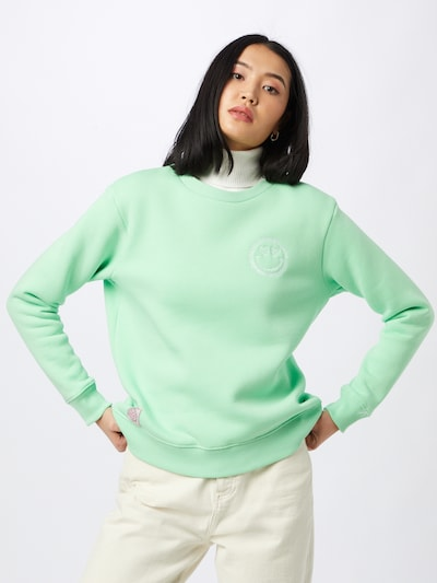 Zwillingsherz Sweatshirt 'Sarina' in Neon green / White: Frontal view