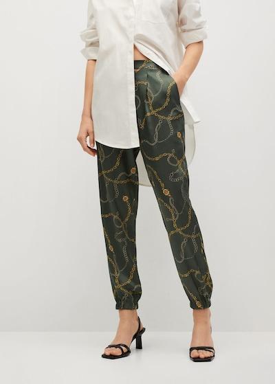 MANGO Pantalon en vert, Vue avec modèle