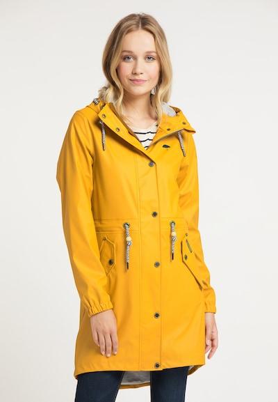 Schmuddelwedda Regenmantel in goldgelb, Modelansicht
