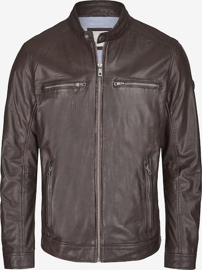 bugatti Lederjacke mit Reißverschlüssen und Druckknopfriegeln in dunkelbraun, Produktansicht