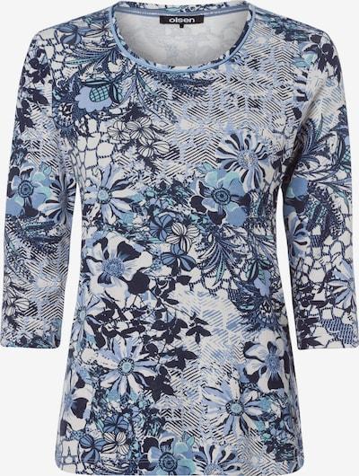 Olsen Rundhalsshirt mit floralem Alloverprint in rauchblau, Produktansicht