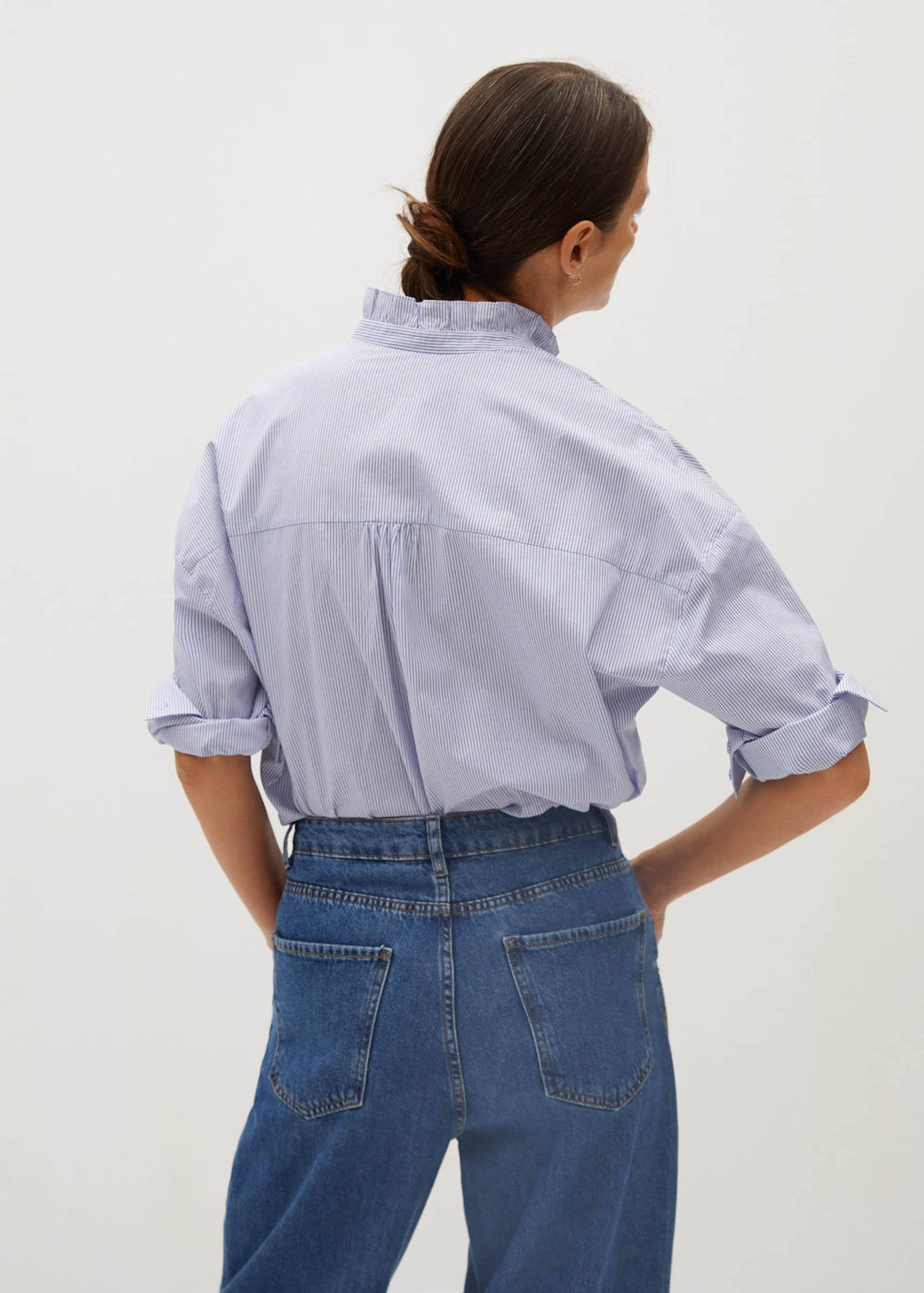 MANGO Blúz 'Antonieta' kék / fehér színben