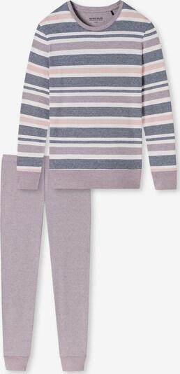 SCHIESSER Pyjama 'Sportive Stripes' in de kleur Blauw gemêleerd / Grijs / Rosé, Productweergave