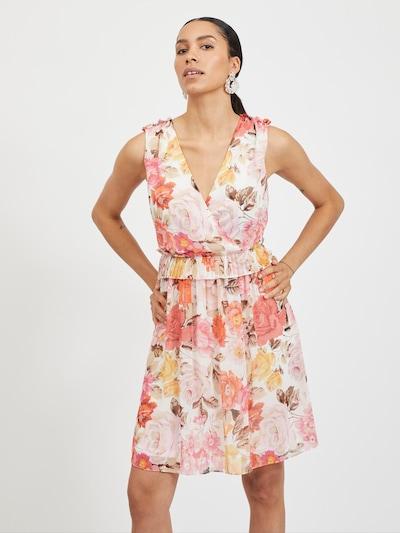 VILA Koktejl obleka 'Hibiscus' | svetlo bež / temno rjava / karminsko rdeča / pastelno rdeča / naravno bela barva, Prikaz modela