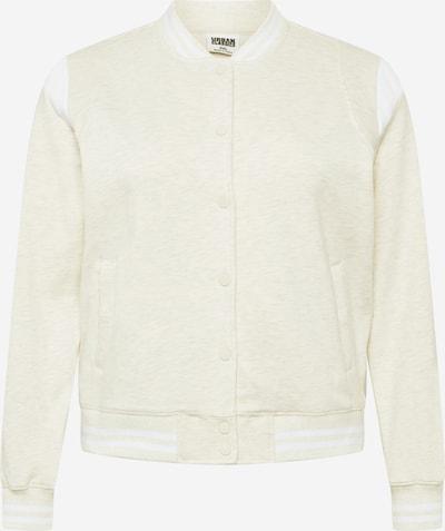 Urban Classics Curvy Jacke 'Ladies Inset College Sweat Jacket' in beige / weiß, Produktansicht