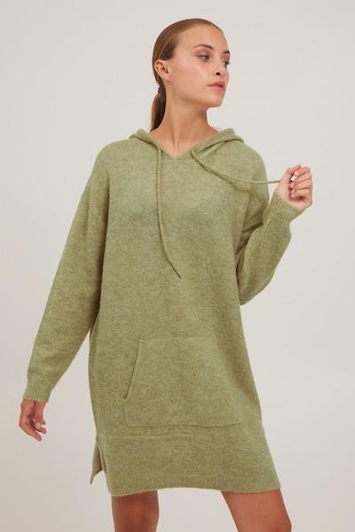 PULZ Jeans Strickkleid 'PZASTRID' in grau / grün, Modelansicht