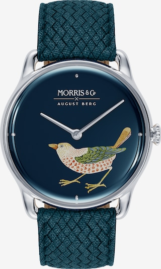 August Berg Analoog horloge 'MORRIS & CO Silver Bird Indigo Perlon 38mm' in de kleur Blauw, Productweergave